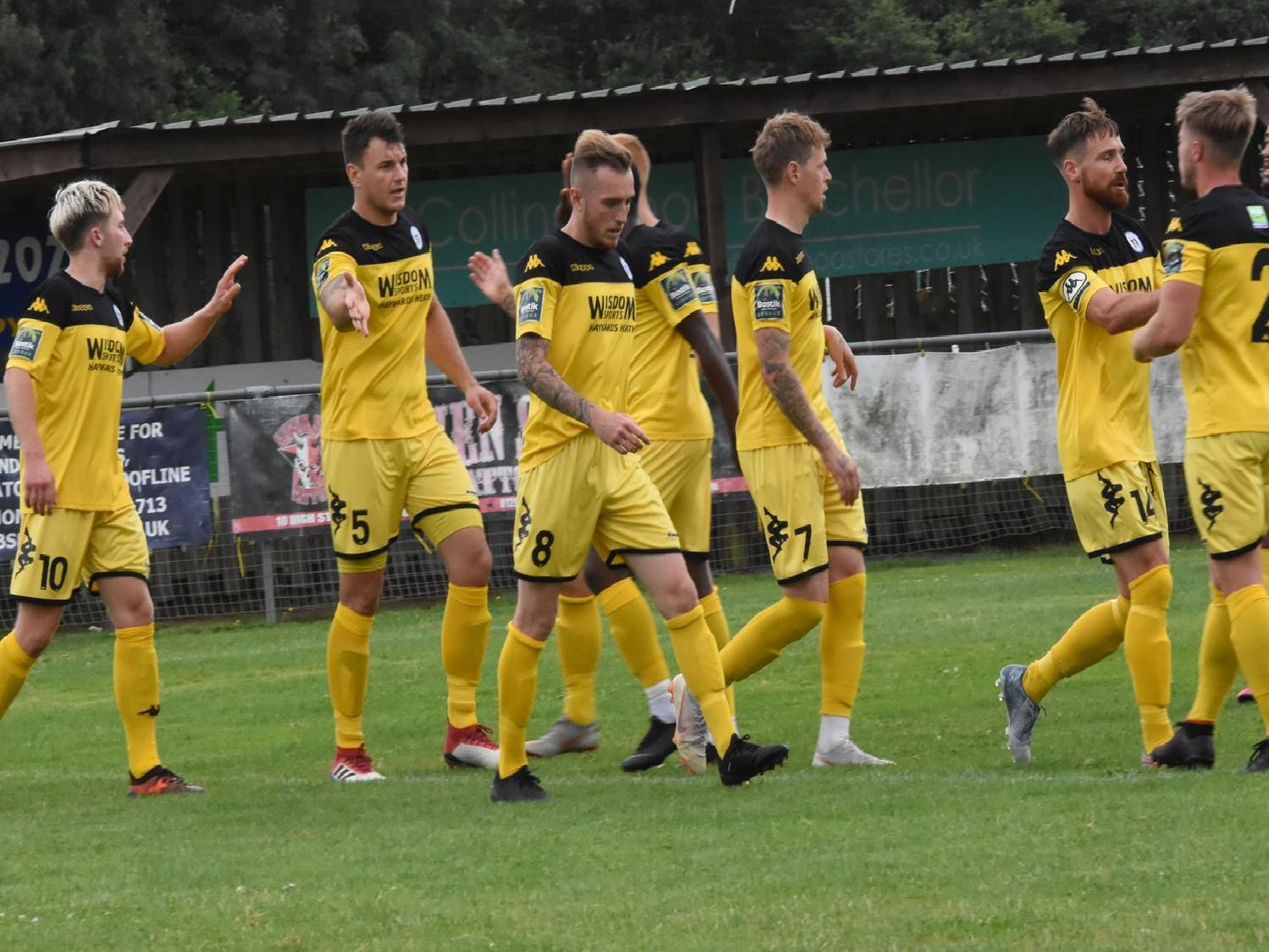 Jack Hartley is congratulated on his goal.