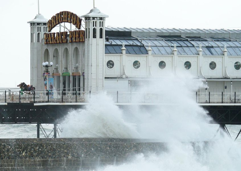 Winds batter Brighton's piers
