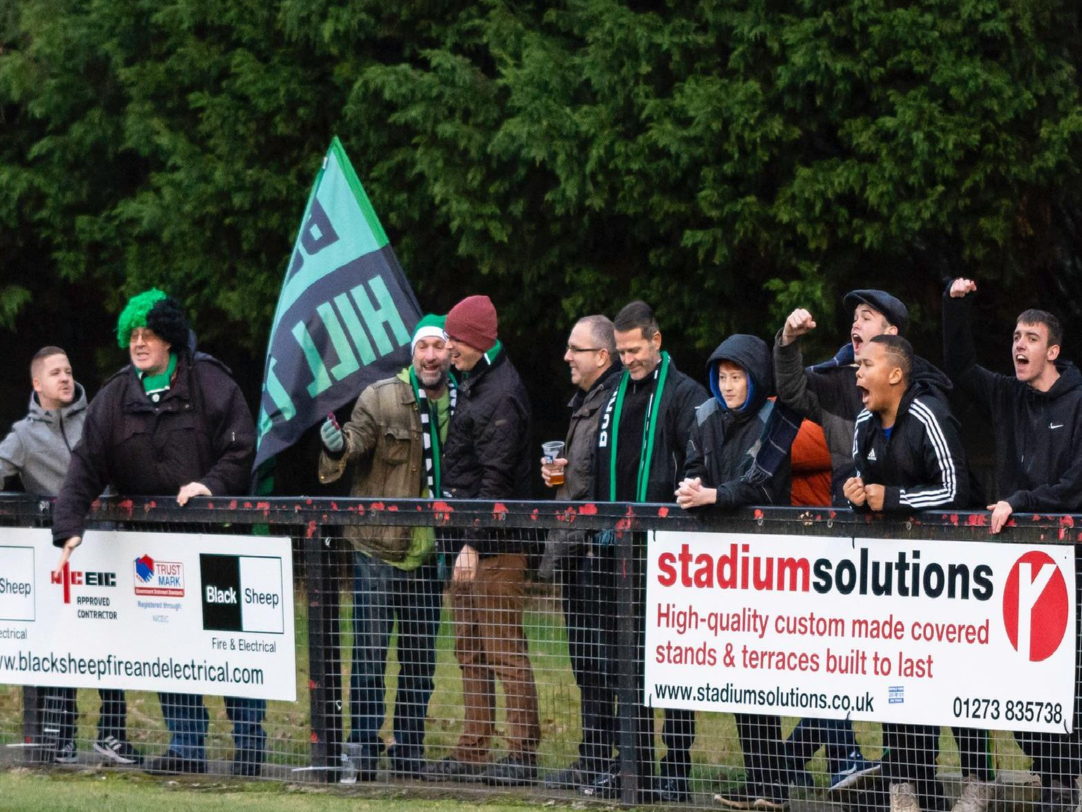Hillians fans watch on. Picture by Chris Neal