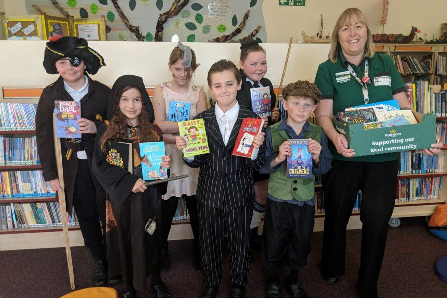 White Meadows Primary Academy in Littlehampton. Jayden Elliott as a pirate, Nikola Chmieolska as Hermione, Summer Lane as Dobby, Aston White as a gangster, Taylor Gardner as Miss Trunchbull, Harry Carn as Oliver Twist and Alison Whitburn, Morrisons Community Champion