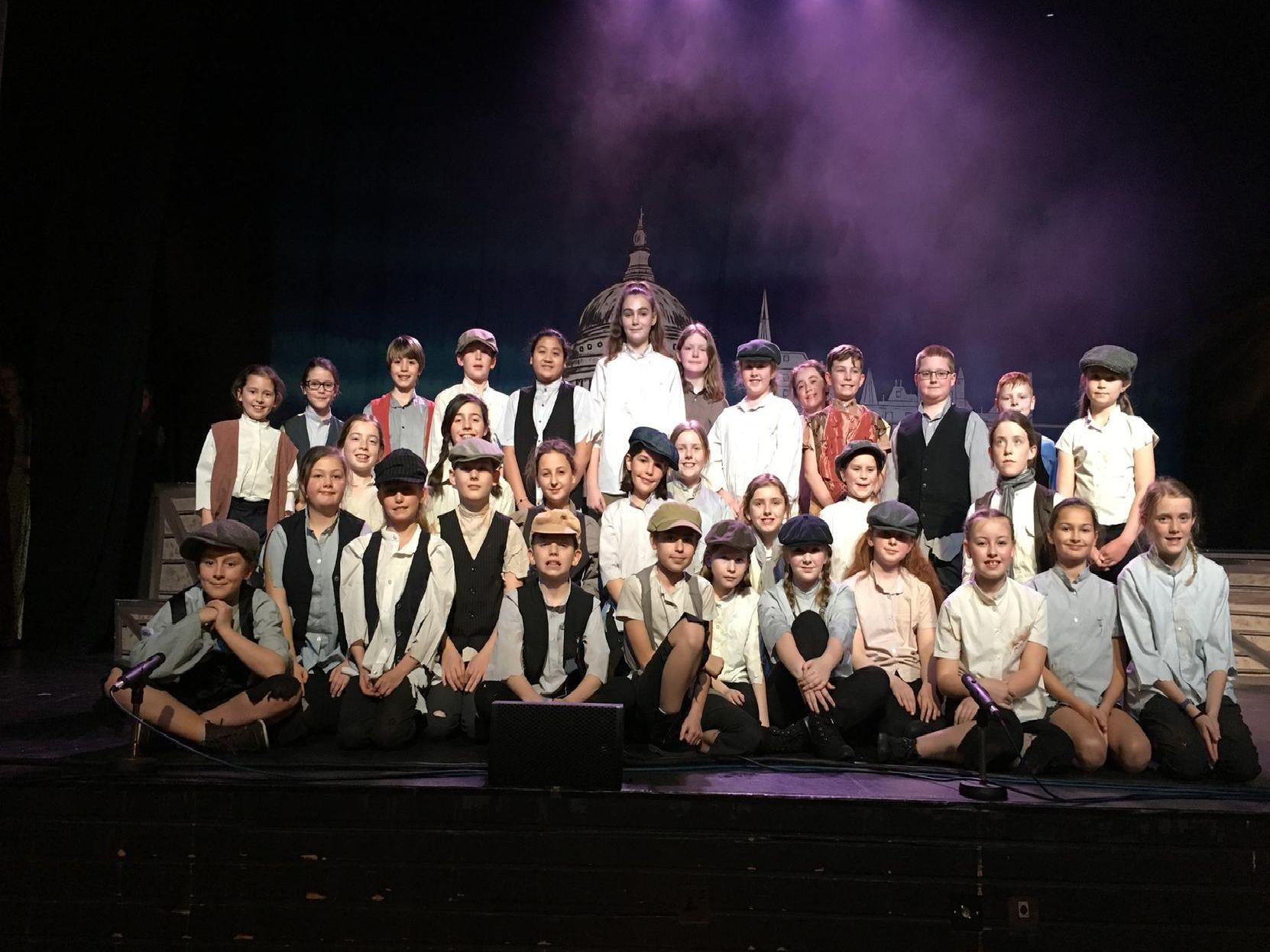 The cast at a dress rehearsal on Friday afternoon