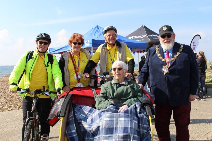 A team from Sight Support Worthing with Worthing mayor Paul Baker