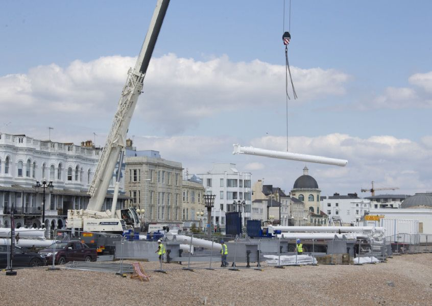 The Worthing Observation Wheel under construction