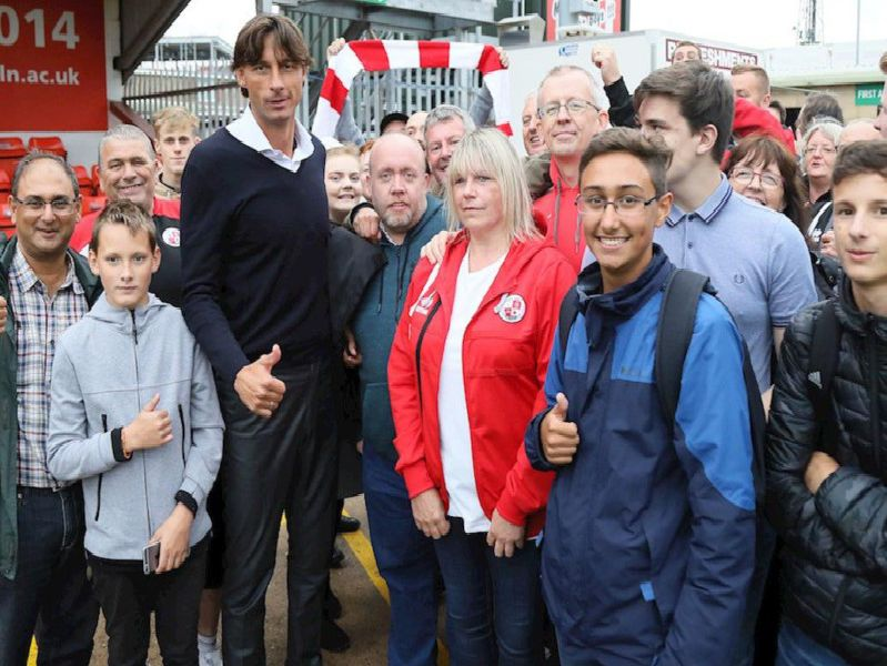 Gabriele Cioffi with fans at Lincoln City