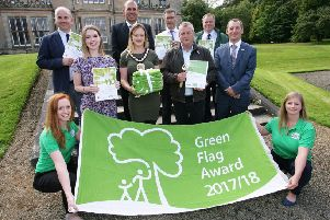 Back Row L-R: Stephen Daye Mid and East Antrim Borough Council; John Irwin, Heyn Environmental Solutions; Philip Thompson and Alex Carmichael Mid and East Antrim Borough Council. Middle Row: Alison Diver, Deputy Mayor Cheryl Johnston and Jackie Waide Mid and East Antrim Borough Council; Ian Humphreys, Keep Northern Ireland Beautiful. Front Row: Karina Magee and Jen Firth Keep Northern Ireland Beautiful.
