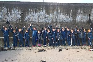 Children and teachers from St John's Primary School, Carnlough who took part in thge beach clean-up operation. Contributed.
