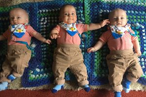 Ballymena triplets Conor, Ciaran and Cillian at six months old