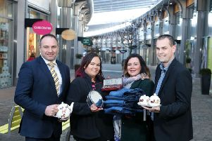 Centre Manager of The OUTLET, Chris Nelmes, announces the arrival of three new stores at the shopping destination, representing an investment of over �500,000.  Also pictured are (L-R) store managers Rachael McCann from The Beauty Outlet, Francine Mohan from Jack & Jones and Stephen Mc Cauley from Ulster Weavers. For more information on The OUTLET and its many leading brands visit www.the-outlet.co.uk, facebook.com/outletbanbridge or follow @outletbanbridge on Twitter. Picture by Press Eye.
