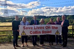 Members of the Save Lives on the Collin Road group with Cllr Jordan Greer, Cllr Linda Clarke, South Antrim MP, Paul Girvan and Trevor Clarke MLA.