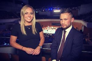 Ruth Gorman Interviewing Carl Frampton at a boxing show at the Waterfront Hall