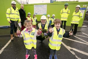 (Back from left): Brian Malone RPS, Councillor Audrey Wales MBE, Richard Carolan GRAHAM Construction and Catherine Watkins from NI Water pictured with Emily and Oskar from Gracehill and Galgorm Community Playgroup and NI Water's Peter Ferguson