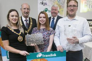Celebrating success at the Translink Ulster in Bloom 2017 Awards in which Ballymena won the Large Town Award, and the Roses inTownsTrophy are from left: Cllr Cheryl Johnston, Deputy Mayor, Alderman Arnold Hatch, President, Northern Ireland Local Government Association, Alison Diver, Mid and East Antrim Borough Council, Frank Hewitt, Translink Chairman, and Noel Robinson, Mid & East Antrim Borough Council.