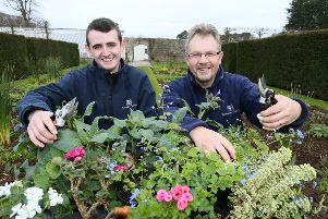 Glenarm Castle gardeners Jordan McWhirter and James Wharry getting set for a blooming great season at Glenarm Castle.'www.glenarmcastle.com