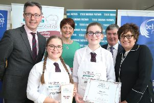 2018 Mount Charles Big School Cook Off winners Katherine Stronge and Catherine Chesney Ballymena Academy are joined by (L-R) John Brolly, Marketing Manager at the Irish News, Caitriona Lennox, Big School Cook Off Ambassador, Trevor Annon, Chairman of Mount Charles and Gillian Douglas, Head of Home Economics at Ballymena Academy.