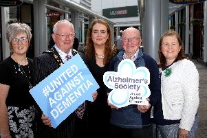 Pictured L-R: Lynn Bulled, Alzheimers Society volunteer; Alderman John Smyth, Deputy Mayor of Antrim and Newtownabbey; Leona Barr, Centre Manager, The Junction Retail and Leisure Park; Danny Brown, Alzheimers Society service user; and Pamela Frazer, Dementia Friendly Communities Support Manager, Alzheimers Society.