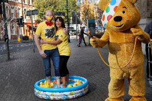 Barra Best, with fellow presenter, Jo Scott and Pudsey Bear