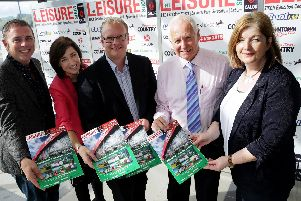 Billy Nutt is pictured with a range of this year's Calor NI Leisure Show sponsors at the launch of this year's show