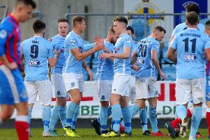 Ballymena United's Leroy Millar celebrates his goal against Ards.