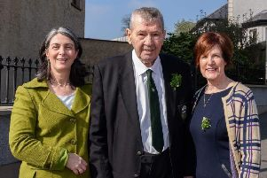 Bobby pictured with Cllr Roisin Lynch and Cllr Noreen McClelland.