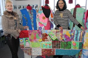 Michele Halligan-Smyth (left), course director of Fashion & Design Diploma at Northern Regional College, Ballymena with some of fashion items designed and produced by Fashion & Design student, Sandra Streeter.