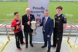 Harry Doyle from Ctiy of Armagh with Matthew Norris of Ballymena ahead of the First Trust Senior Cup final bieng played at Kingspan Stadium. Included are Ulster Branch president, Stephen Elliott and First Trust's James Beattie