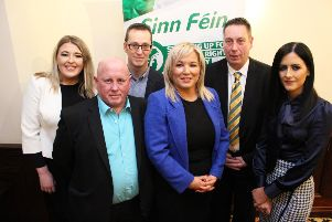 Sinn F�in Vice President Michelle O'Neill, North Antrim MLA Philip McGuigan along with the four election candidates for Mid and East Antrim Council: James McKeown, Ian Friary, Collette McAllister and Patrice Hardy.