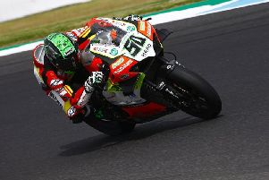 Eugene Laverty crashed out of the opening race in Thailand on the Team Go Eleven Ducati V4 R.