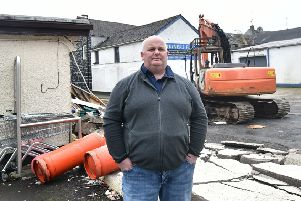 Shop Owner Walter Miller at the scene following the theft of an ATM machine from his shop in Ahoghill.'' 'Photo: Colm Lenaghan/Pacemaker Press