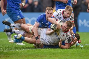 Marcus Rea scores a try on his Ulster debut against Leinster