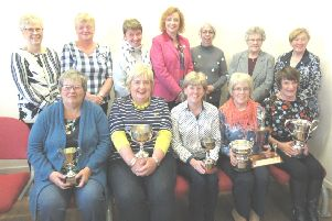 The cast members of Muckamore Women's Institute's 'Game of'Scones' which won seven trophies in the Drama Festival of the Federation of Women's Institutes of Northern Ireland -  Sharon Carson, Elizabeth Gray, Lynda Brown, Irene McCullough, Margaret Dean, Jean McCollam, Joan Gray, Liz McConnell, Iris Maughan, Colette Meenan, Alison Graham, and Margaret Bent.