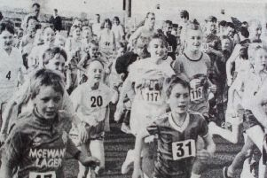 Happy faces at the start of the fun run during Ahoghill Sports'  Week. 1989