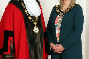 Mayor of Antrim and Newtownabbey, Alderman John Smyth, DUP, and Deputy Mayor, Councillor Anne Marie Logue, Sinn Fein.