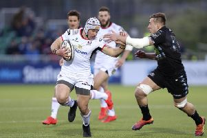Ulster Luke Marshall in action against Glasgow