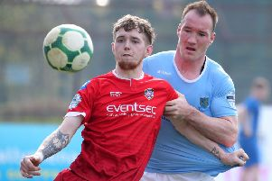 Albert Watson (right) has signed for Larne