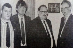 Thomas Carmichael (second right) unveils a plaque at the official opening of the Carmichael Rooms at Clough Glasgow Rangers Supporters' Club. Looking on are - Wallace Robertson, Raymond Aitcheson, Samuel Moore and Eddie McGonnell. 1989