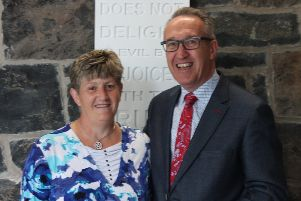 Rev. Daniel Kane with Phyllis Linton who has retired  after 33 years as Deaconess at West Church.