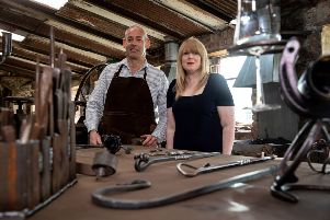 James McCullough of Patterson's Forge Hammer & Tongs and Jenine McIlroy, Business Advisor at Ballymena Business Centre