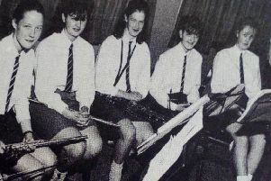 Dunclug High School orchestra who entertained the packed audience at the Ahoghill Village Association's Inter-School Quiz at the village community centre.'1989