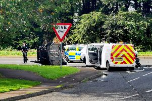 Air Ambulance, Police and NIFRS in attendance at a serious accident on the Frossess Road in Ballymoney on Monday afternoon. Pic McAuley Multimedia