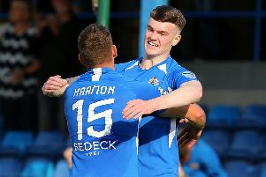 Jordan Jenkins celebrates his Glenavon goal against Ballymena United. Pic by Pacemaker.