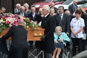 Maureen Luke , cousin of 110-year-old Maud Nicholl during the funeral in Ballymena. Photo Colm Lenaghan/Pacemaker Press