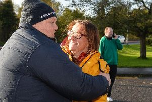 There were joyous scenes outside the former Wrightbus factory in Ballymena when news emerged a deal to save up to 1,200 jobs had been agreed 'in principle;.