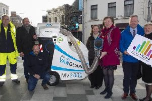 Mayor of Mid & East Antrim, Cllr Maureen Morrow, pictured with (L-R) John Penny (Operator), Adrian Sharkey, (Ice Cleaning.ie Sales Agent), Jeff Hamill, (MEABC), Tracey Campbell, (MEABC), Stephen Reynolds (BID Chairman) and Ald Audrey Wales.