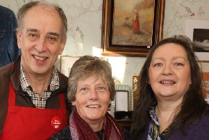 Oonagh and Michael Dalton of The Changing Room at 69 Main Street, Cullybackey with  Rachel McCormick (centre) who opened a Christian Aid charity shop in Garvagh . Pic_ @Press Eye/Darren Kidd
