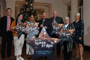 Pictured L-R:'Brendan Gallen, Head of Marketing,'SuperValu; Kaitlyn McNally (Young SuperStar); Julie Graham (Social Enterprise SuperStar); Gary Trew (Unsung SuperStar & overall winner); Brian Doherty (Fundraising SuperStar); Patricia McConnell'(Community Group SuperStar) and Pamela Ballantine, awards host, SuperValu SuperStars at the'Titanic Hotel, Belfast. Picture by Darren Kidd, Press Eye