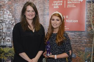 Winner of the Northern Ireland Creative Intern Award - Kathryn McKinney from Ballymena. She was presented with her award by Sarah Jones of Creative & Cultural Skills NI.