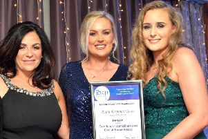 Yasmin Anderson (far right) pictured at the NI Independent Care Awards in November. Also pictured is her colleague Emma McCloy (middle) and Lorraine Corr, Director of Care at Connected Health (left).