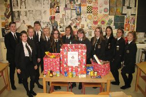 Mr Jordan's A-Level RE Class at St Patrick's College, who volunteered to take responsibility for the Rotary Christmas Hampers Project.