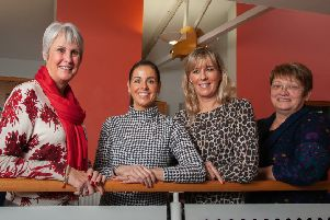 Northern Regional College lecturer Jackie Scott (right) with some of her Essential Skills students and former Thomas Cook employees (L-R) Jane, Moyra Morgan and Jennie Lyttle.