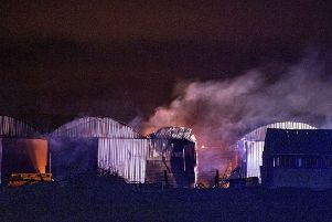 McAuley Multimedia 20/01/20.. Over 50 firefighters tackled a large blaze on a farm on Ballyclough Road, Bushmills. A number of sheds and machinery were destroyed. Pic Steven McAuley/McAuley Multimedia